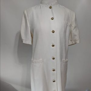 Patchington white midi with gold buttons .